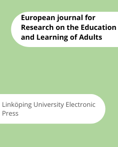 Cover European journal for Research on the Education and Learning of Adults