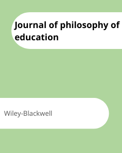 Cover Journal of philosophy of education